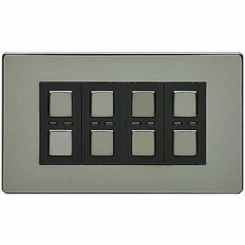 LightwaveRF 4 Gang Dimmer 250W Black Chrome