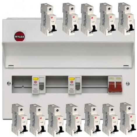 Wylex Amendment 3 15 Way Dual RCD Consumer Unit with 12 MCB's
