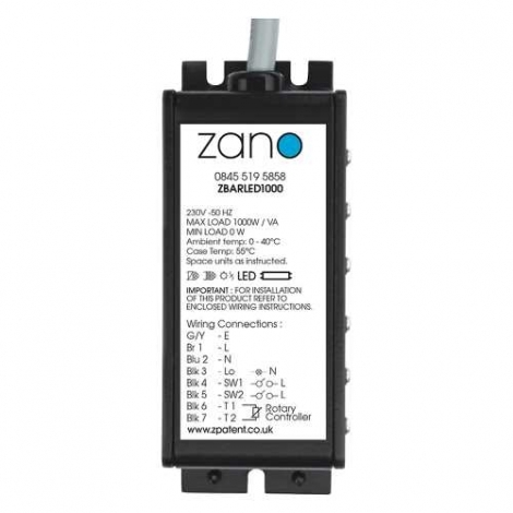Zano ZBARLED1000 1000w LED/ CFL/ LV and Tungsten Remote Dimming Pack